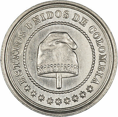 Colombia 1881 2-1/2 Centavos LUSTROUS ABOUT UNC, ONE YEAR TYPE