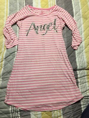 Victorias Secret Sleep Shirt Small Pink White Striped Angel