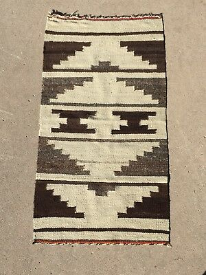 "Vintage NAVAJO INDIAN NATIVE AMERICAN RUG SADDLE BLANKET ORIG! 37"" BY 20"""