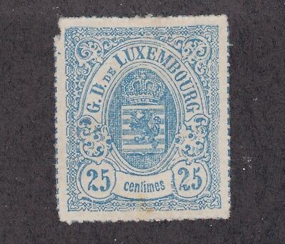 Luxembourg Sc 22 MNG. 1872 25c blue Coat of Arms rouletted in color, rare