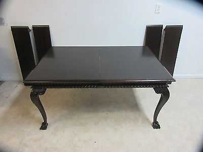 Antique Mahogany Ball Claw Chippendale Banquet Conference Dining Room Table