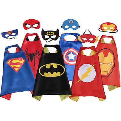 Children Boys Superhero Cape Mask Dress Up Costume Kids Birthday Party Favor SET