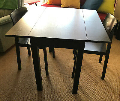 IKEA Small BLACK Extendable Dining TABLE + 3 CHAIRS    - pick up St Kilda VIC