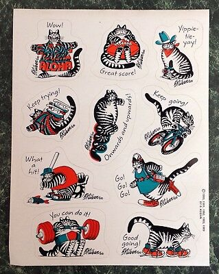 Vintage 80s KLIBAN KILBAN CAT Reward Sticker Sheet~Whimsical Kitty~Cartoon~Rare