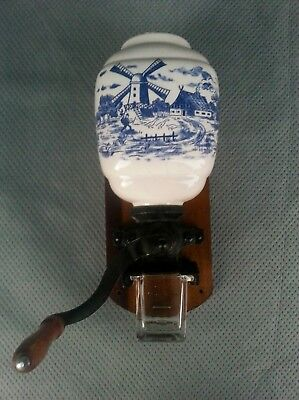 Antique Wall Mounted Coffee Bean Grinder Wood Base Blue White Dutch Windmill