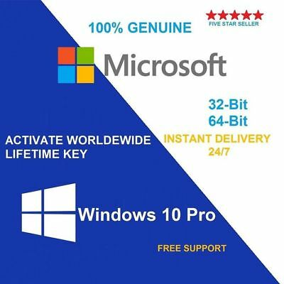 Microsoft Windows 10 Pro Professional 32 64bit Digital License OEM Key Original