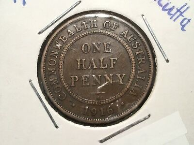 1916 Aust. Halfpenny.  101 years old.