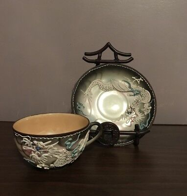 Dragonware Dragon tea cup Japan Lusterware Asian Smoky Grey