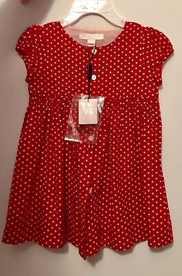 BURBERRY CHILDREN Girls Sz 18 Month Military Red Cotton Dress New With Tags