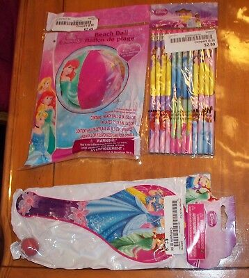 Disney Princess Fun Set, PRINCESS PENCILS, BEACH BALL, PADDLE BALL New!