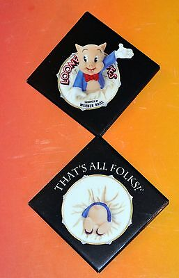 2 Rare Porky Pig Looney Tunes That's All Folks Pins