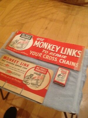 Vintage MONKEY LINK TIRE CHAIN Old Gas Station Sign Banner Links Advertising Lot