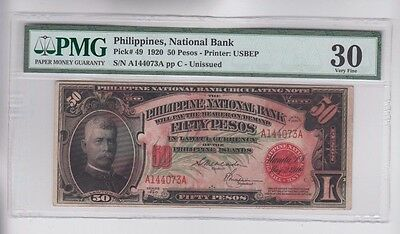 Philippines $50 1920 PMG Graded vf 30