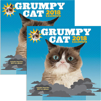 NEW (Set/2) 2018 Grumpy Cat Wall Calendar 12x12 Ready To Use In 2017 Sept - Dec