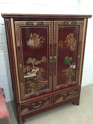 Chinese High Gloss Red Lacquered Cabinet