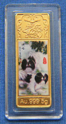 2018 Chinese Zodiac 24K Gold Colour Bar--Year of the Dog 15mmx45mm