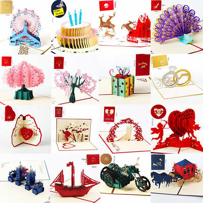3D Pop Up Cards Valentine Lover Happy Birthday Anniversary Greeting Cards 2018