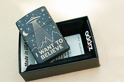 "ZIPPO Black Crackle Regular type 236 ""I WANT TO BELIEVE"" X-Files"