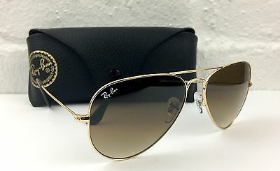 Ray Ban RB3025 Aviator 001/51 Brown Gradient Gold Frame Sunglasses 58mm Medium