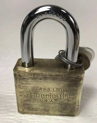 Vintage American Lock Series L50 Padlock With Key Brass