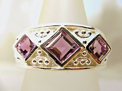 Three Amethyst Heavy Solid Sterling Silver N7 Wide Byzantine Band Ring Beautiful