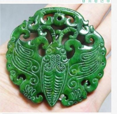 Chinese Old Handwork Carve Green Jade Butterfly Pendant