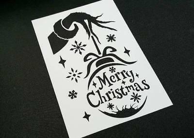 Grinch Style Hand With Xmas Bauble And Text Merry Christmas Stencil Window Deco