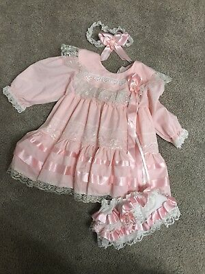 Romany Gypsy Baby Girl Dress Pink 6-12 Months