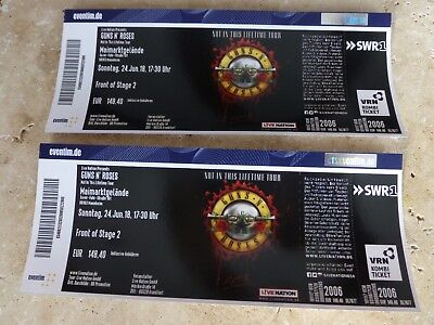 2x Tickets Guns N`Roses  Mannheim 24.06.2018 Front of Stage 2