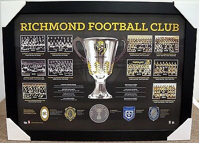 Richmond Tigers Premiership History Print Framed - Brownlow Medal - Afl Premiers