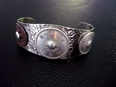 vintage ww2 japanese military trench art cuff bracelet band japanese coins