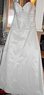 Bling ! Gorgeous White Taffeta Wedding Gown 12