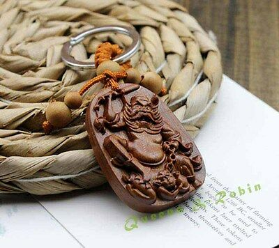 Wood Carving Chinese Zhong Kui Statue Sculpture Amulet Pendant Key Chain