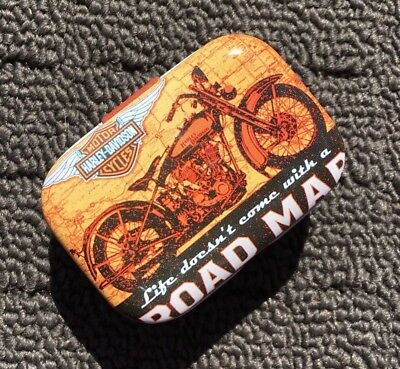 """MOTORCYCLE ROAD MAP """"Brown"""" Collectable Metal Trinket Tin Tobacco Box *NEW*"""