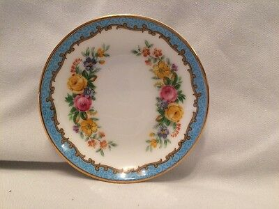 Crown Staffordshire Tunis Blue Butter Pat Dish 1950's Ring Pin Dish