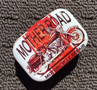 """MOTORCYCLE MOTHER ROAD """"Red"""" Collectable Metal Trinket Tin Tobacco Box *NEW*"""
