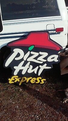 "Pizza Hut Lighted Sign Large Appx.46""/42""x 5 1/2"" Plastic Sign"
