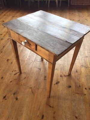 Antique Fruitwood Side Table, Small Desk with Drawer