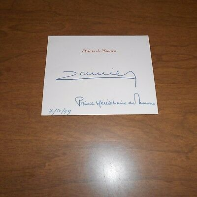 Rainier III ruled the Principality of Monaco for almost 56 year Hand Signed Card