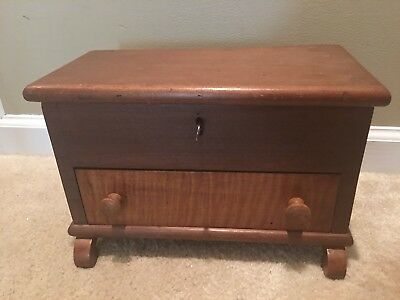 Antique Wooden Box with Key Tiger Oak Wood Drawer