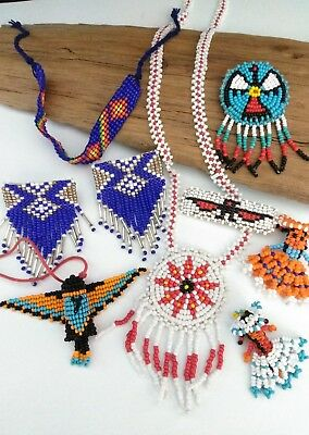 VINTAGE NATIVE AMERICAN GLASS SEED BEAD JEWELRY LOT - Beaded Dolls, Humming bird