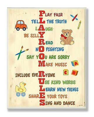 OpenBox The Kids Room by Stupell Vertical Playroom Rules Rectangle Wall Plaque