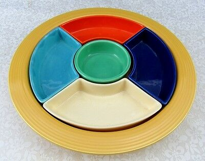 Vintage Mid Century Fiesta Fiestaware All 6 Primary Colors Divided Relish Tray