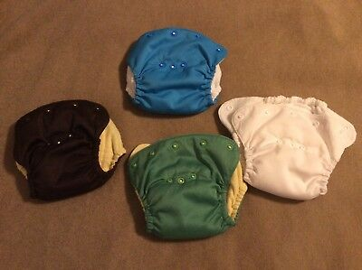 Lot - 4  Kissaluvs all in ones cloth diapers Excellent Condition newborn size 0