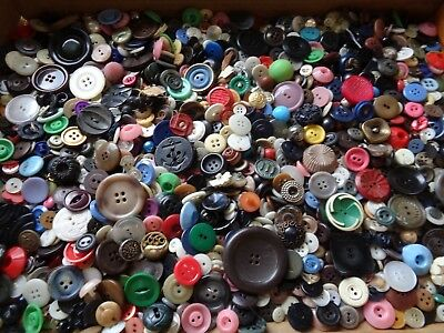 Large 2 Pound Lot Of Mixed Vintage  Plastic Sewing Craft Buttons