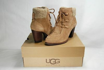 efbe7bb2e72 UGG ANALISE LODGE Fur Cuff Lace Up Ankle Bootie Womens Us 11 Nib ...