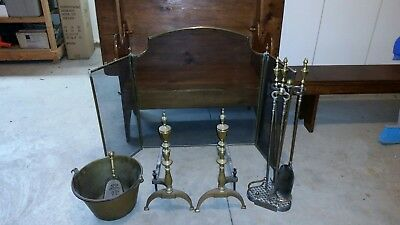 Antique Brass & Cast Fireplace Andirons, Screen, Tools, Bucket