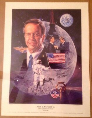 NASA MERCURY APOLLO ASTRONAUT Alan Shepard Signed Poster Artist Signed 249/2000