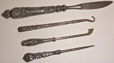 LOT of (4) ASSORTED Victorian ANTIQUE VANITY TOOLS w/ STERLING SILVER HANDLES!
