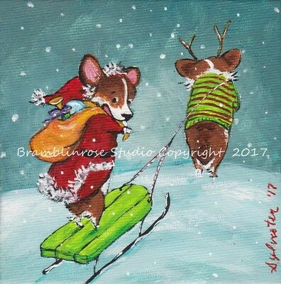 Welsh Pembroke CORGI Painting Christmas Santa Painting Elf Sled Dog Art Gift